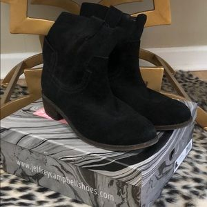 Jeffrey Campbell St Elmo black oiled suede bootie